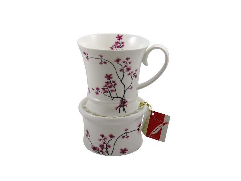 tea logic fine bone china porzellan tasse mit st vchen cherry blossom 350ml ebay. Black Bedroom Furniture Sets. Home Design Ideas